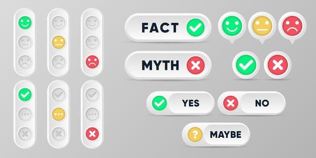 Przyciski mitów i faktów. prawdziwe lub fałszywe fakty ustawiają kolekcję w stylu 3d z symbolami krzyża i znacznika wyboru.