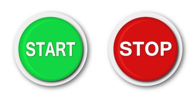 Przyciski uruchamiania i zatrzymywania. wektor okrągłe przyciski na białym tle