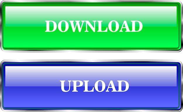 Przyciski wolumetryczne do projektowania stron internetowych. pobierz i pobierz. kolor niebieski i zielony.