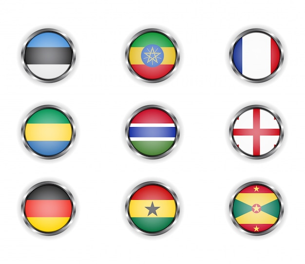 Przyciski z metalową ramką flag kraju.