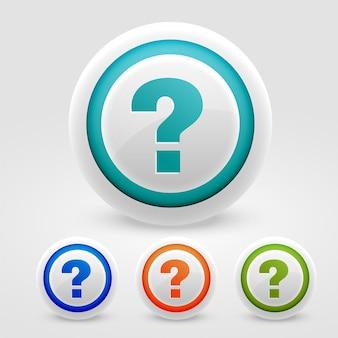 Przyciski ze znakiem zapytania w celu uzyskania pomocy i wsparcia w celach internetowych