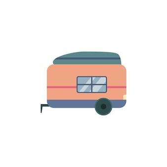 Przyczepa samochodowa na kółkach na kemping i wycieczkę na wieś, wektor ilustracja kreskówka na białym tle. pojazd samochodowy do letnich podróży samochodowych.