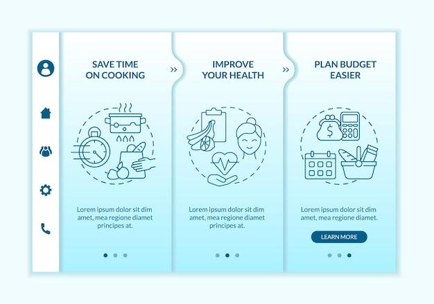 Przyczyny planowania posiłków w niebieskim gradientowym szablonie wektora wprowadzającego. responsywna strona mobilna z ikonami. przewodnik po stronie internetowej 3 ekrany kroków. koncepcja kolorystyczna z liniowymi ilustracjami