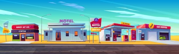 Przydrożny motel z parkingiem, stacją paliw, burgerami i kawiarniami oraz obsługą samochodów.