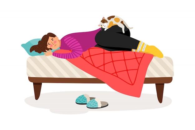 Przygnębiona kobieta i kot
