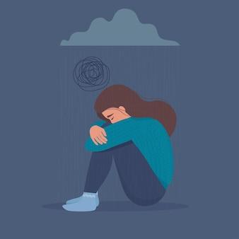 Przygnębiona, smutna, nieszczęśliwa, zdenerwowana, płacząca kobieta siedząca pod ciemną chmurą z deszczem.
