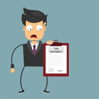 Przygnębiony człowiek za pieniądze z dokumentem podatkowym
