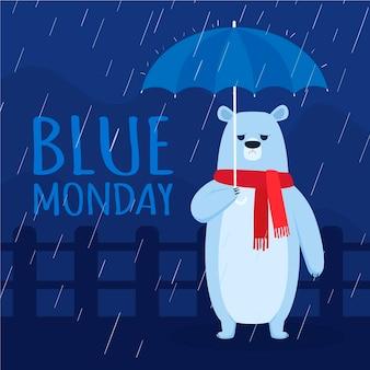Przygnębiony niedźwiedź w niebieski poniedziałek
