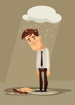 Przygnębiony smutny charakter pracownika biurowego