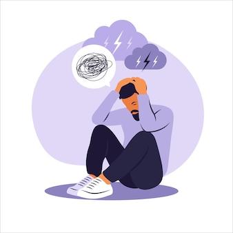 Przygnębiony smutny człowiek myśli o problemach. upadłość, strata, kryzys, pojęcie kłopotów.