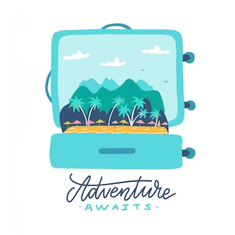 Przygoda czeka - cytat z napisem. otwarta walizka podróżna z tropikalną wyspą, palmami, parasolami i górami w środku. płaska ilustracja.