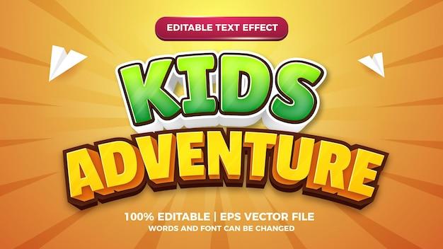 Przygoda dla dzieci kreskówka komiks 3d edytowalny szablon efektu stylu tekstu