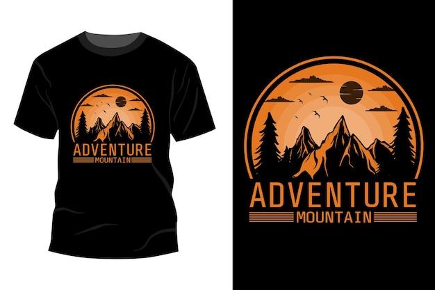 Przygoda górska koszulka makieta design vintage retro