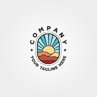 Przygoda góry i zachód słońca logo wektor symbol ilustracja projekt, projekt logo vintage sunburst