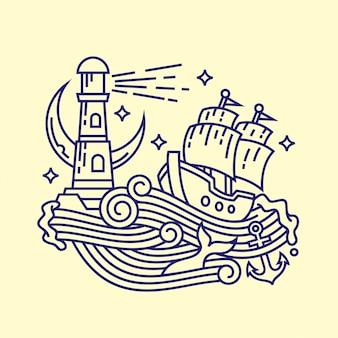 Przygoda morze liniowy ilustracja