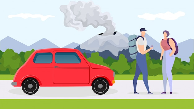 Przygoda samochodem w pobliżu góry, ilustracja. para turystów charakter podróży na wakacje, wakacje wycieczka z transportu.