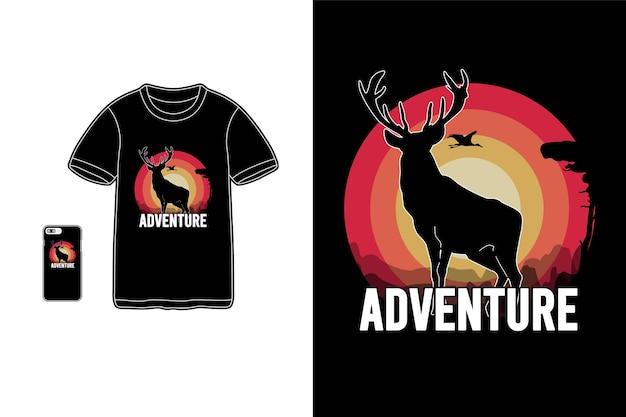 Przygoda, t-shirt, makieta, makieta, typografia