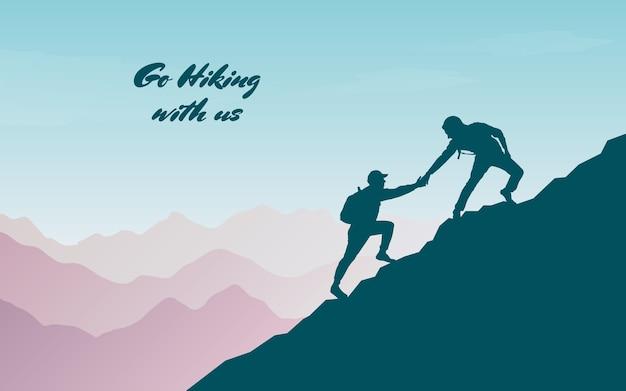 Przygoda w górach. pomóż przyjacielowi podczas wspinaczki na szczyt. ręka wsparcia.