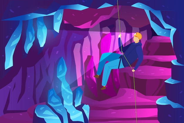 Przygoda wspinacza w górach, badanie jaskiń lodowych, speleologia sportów ekstremalnych ilustracja spelunker. .