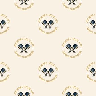 Przygoda wzór z osiami kempingowymi etykiety odznaki. podróżuj po dzikim życiu. świetny tekst na zewnątrz. tło podróży tapety.