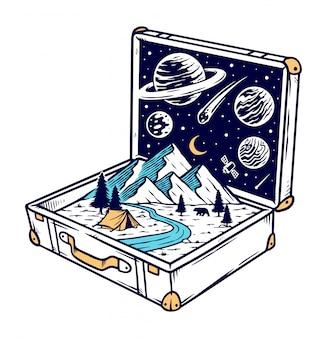 Przygoda z starymi walizkami ilustracyjnymi