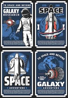 Przygody w kosmosie, plakaty retro z badaniami galaktyk
