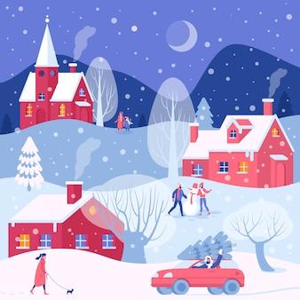Przygotowania do świąt. mężczyźni i kobiety chodzą na świeżym powietrzu boże narodzenie zimowe zajęcia na tle budynków starego miasta.