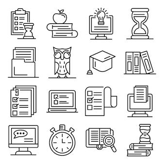 Przygotowanie do egzaminów zestaw ikon, styl konturu