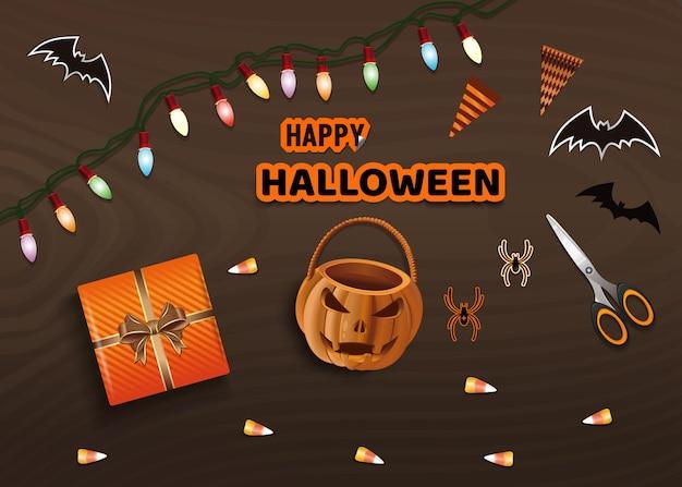Przygotowanie do obchodów halloween. wesołego halloween. stół z prezentami na halloweenowy widok z góry. ilustracja wektorowa