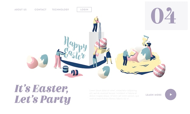 Przygotowanie do wesołych świąt tradycyjnej wiosny religijnej koncepcji wakacje landing page. cute people character razem udekoruj witrynę ornament egg lub stronę internetową. ilustracja wektorowa płaski kreskówka