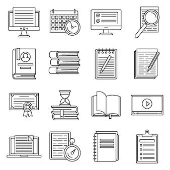 Przygotowanie edukacji do egzaminów zestaw ikon, styl konturu
