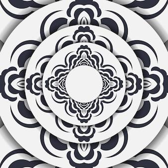 Przygotowanie jasnej pocztówki z abstrakcyjnym ornamentem. szablon wektor dla karty zaproszenie do druku z wzorami mandali.