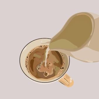 Przygotowanie kawy nalewanie mleka art. ilustracja wektorowa