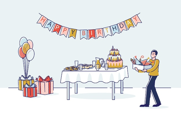 Przygotowanie przyjęcia urodzinowego z pudełkiem kreskówka mężczyzna