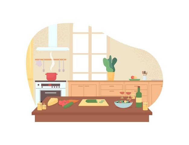 Przygotowanie romantycznej kolacji w domowej kuchni 2d