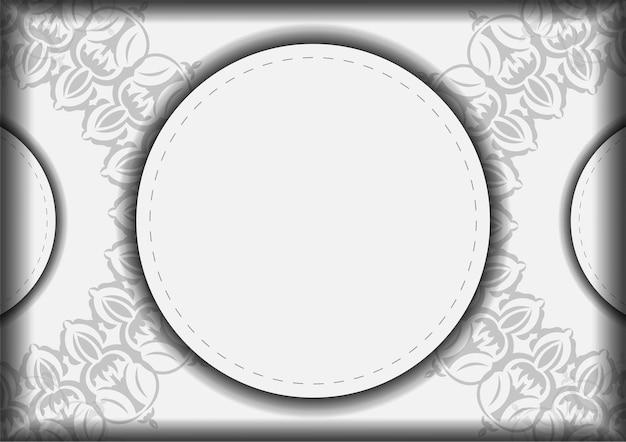 Przygotowanie wektor zaproszenia z miejscem na twój tekst i wzory vintage. szablon do druku pocztówek białe kolory z mandalami.