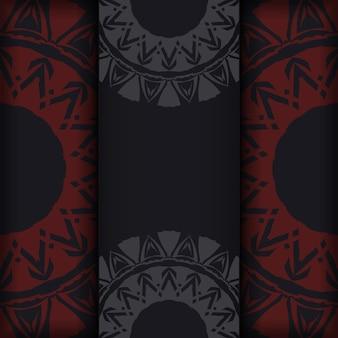 Przygotowanie zaproszenia z miejscem na twój tekst i abstrakcyjne wzory. luksusowy szablon wektorowy do druku pocztówki w kolorze czarnym z czerwonymi greckimi wzorami.