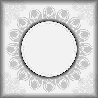 Przygotowanie zaproszenia z miejscem na twój tekst i czarne wzory. szablon wektor dla pocztówek projekt druku białe kolory z mandale.