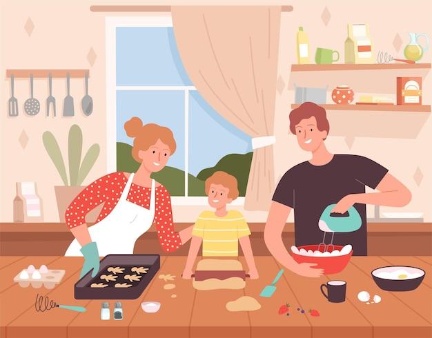 Przygotowywanie jedzenia w kuchni. kreskówka tło z szczęśliwą rodziną znaków dokonywanie pyszne produkty szefa kuchni do pieczenia wektor. rodzinne wspólne gotowanie, matka, ojciec i syn ilustracja