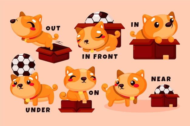 Przyimki angielskie z psami