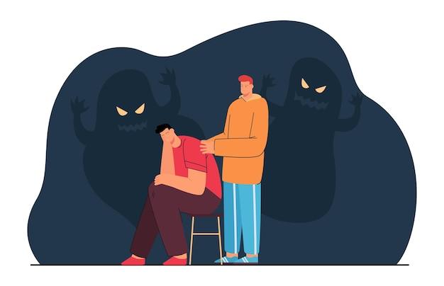 Przyjaciel pocieszający mężczyznę lękiem lub strachem