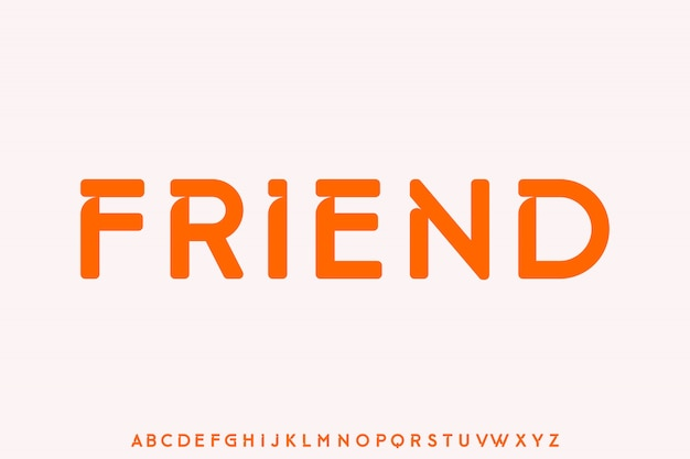 Przyjaciel, unikalny, ostry krój czcionki, alfabet w stylu retro