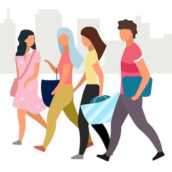 Przyjaciele chodzi wpólnie płaską ilustrację. dziewczyny i facet w postaci z kreskówek na ulicy miasta. studenci, turyści idący i rozmawiający. koncepcja przyjaźni. grupa ludzi spędzających czas, spotykając się
