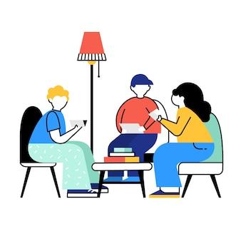 Przyjaciele czytający książki klub książki