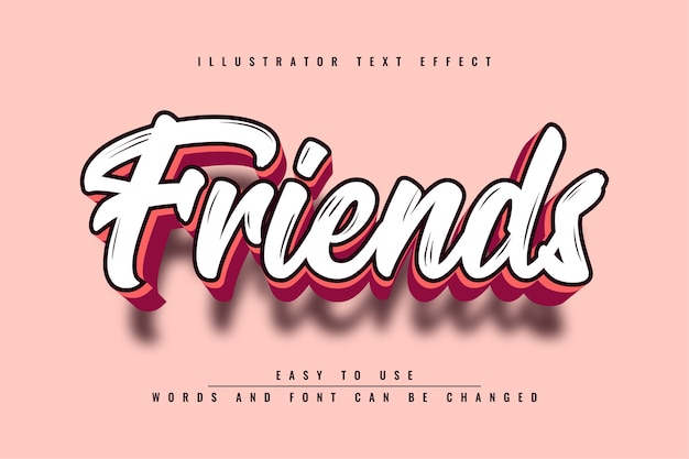 Przyjaciele - edytowalny efekt tekstowy 3d