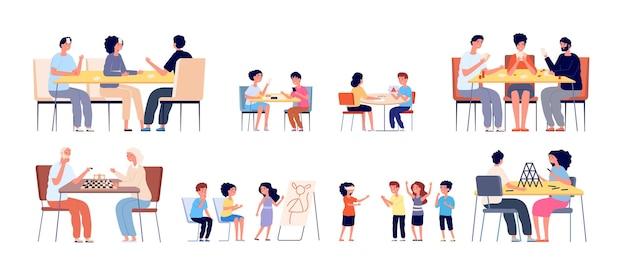 Przyjaciele grający w gry. szczęśliwe hobby, ludzie bawią się razem. dzieci i rodzinne spotkanie w domu, dziewczynka chłopiec aktywne gry uliczne wektor ilustracja. plansza do gry przy stole, przyjaźń rozrywkowa
