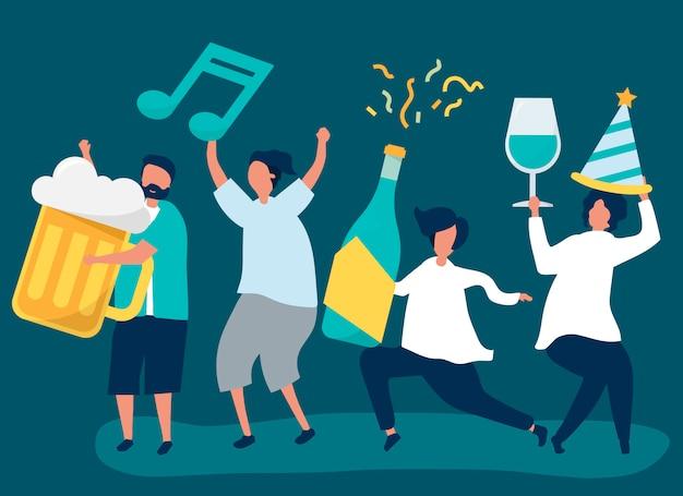 Przyjaciele imprezują i piją różne napoje