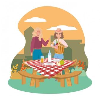 Przyjaciele kobiet pikniku