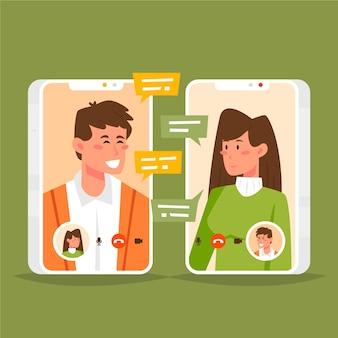 Przyjaciele komunikują się za pośrednictwem połączenia wideo