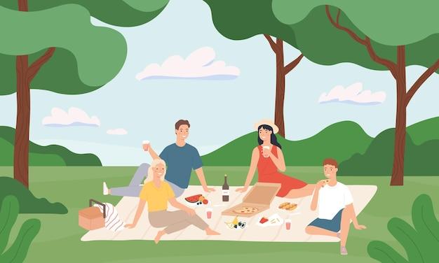 Przyjaciele na pikniku. szczęśliwi młodzi mężczyźni i kobiety jedzący razem obiad na świeżym powietrzu, odpoczynek do natury letnie wakacje kreskówka wektor ilustracja. letni piknik i rekreacja, szczęśliwi młodzi razem odpoczywają
